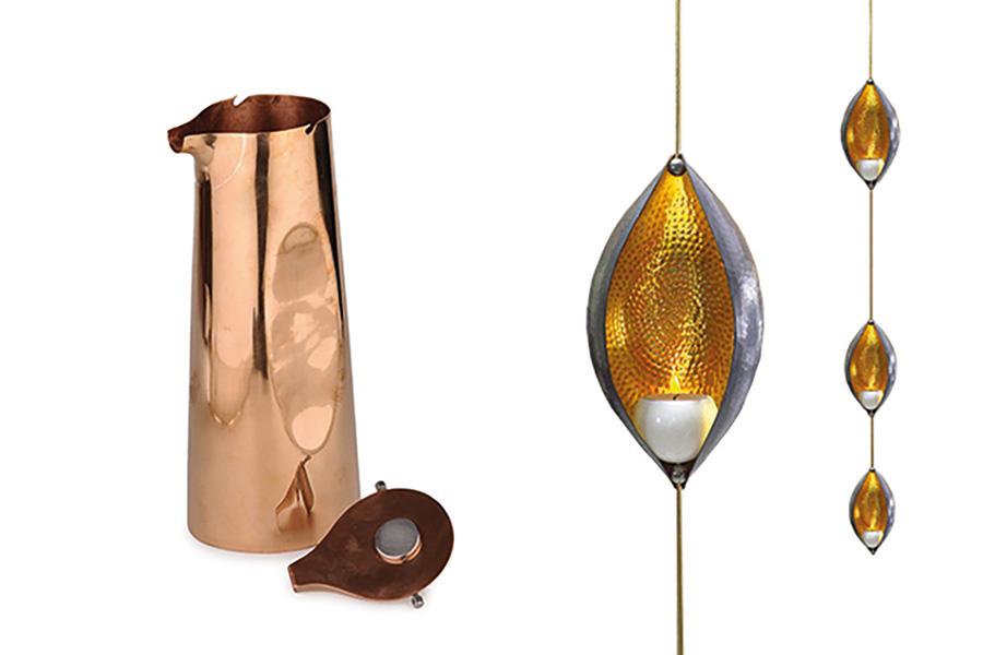'Trinetra'-Teelichthalter &  'Shiva'-Kupferkrug